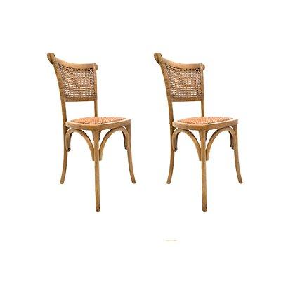 Kit 2x Cadeira Trendhouse Madeira Natural Carvalho Castanho Claro Encosto e Assento de Palha Trançada POSITANO