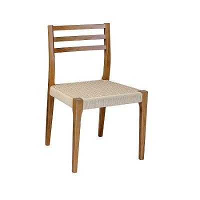Kit 2x Cadeira Trendhouse Madeira Natural Olmo Castanho Assento Claro Fibra Natural Tramada Urca