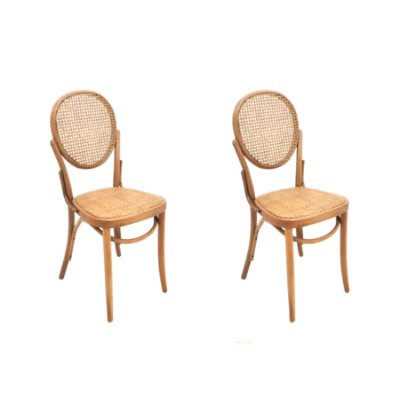 Kit 2x Cadeira Trendhouse Madeira Natural Vergada Castanho Claro Encosto Oval Assento Palha Trançada Panama