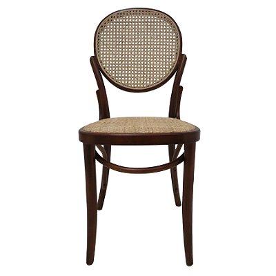Kit 2x Cadeira Trendhouse Madeira Natural Vergada Escuro Encosto Oval Assento Palha Trançada Panama