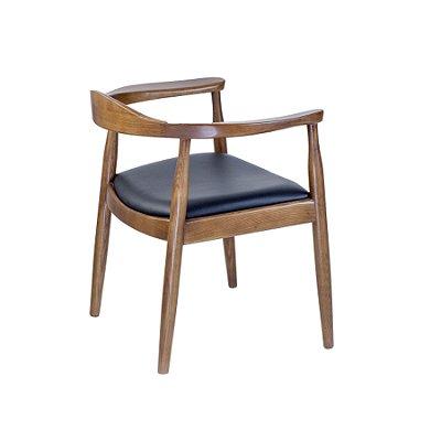 Kit 2x Poltrona Trendhouse Madeira Natural Carvalho Escuro Americana Vintage The Chair Encosto Acento Couro Estofado FLAT