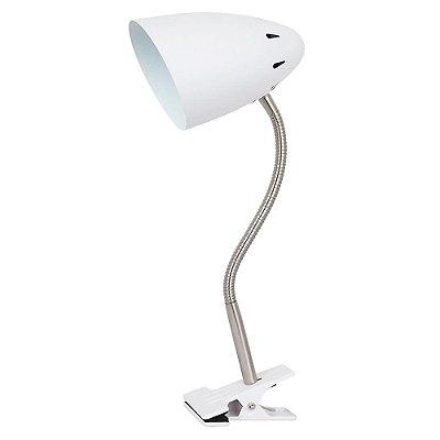 LUMINÁRIA MESA Quality Iluminação QLM1178-BR Articulada Cupula  Alumínio BRANCO 1XE27 40W 30X10X32CM Sala Quarto Casal Mesas