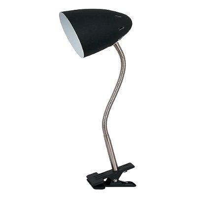 LUMINÁRIA MESA Quality Iluminação QLM1178-PT Articulada Cupula  Alumínio PRETO 1XE27 40W 30X10X32CM Sala Quarto Casal Mesas