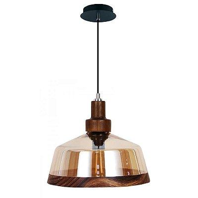 PENDENTE Newline Imports LAMPO 461 Vidro Ambar Vintage  1XE27 60W Ø30X15,5CM Sala de Jantar Quarto e Cozinha
