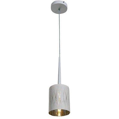PENDENTE Newline Imports PD1019 Vertical Cinza Dourado Alumínio VIDRO Branco 1XG9 40W Ø12X15CM Sala de Jantar Quarto e Cozinha