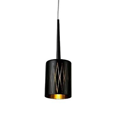 PENDENTE Newline PD1019-PT Vertical Dourado PRETO  1XG9 40W 12X15CM