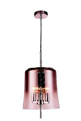 PENDENTE Newline Imports PD1134 Estilo Antigo Cobre Vela VIDRO 3XE27 40W 25X27CM Sala de Jantar Quarto e Cozinha