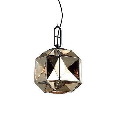 PENDENTE Newline Imports PD1165-DO Lapidado Diamante  VIDRO Alumínio DOURADO 1XE27 40W 25X40,5CM Sala de Jantar Quarto e Cozinha