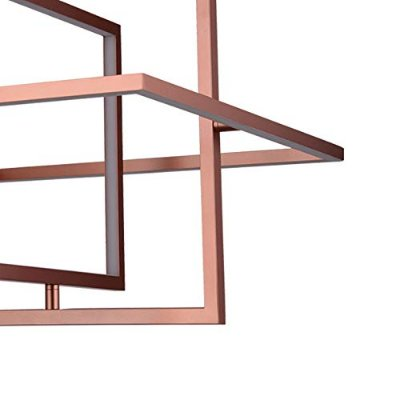 PENDENTE Newline Imports PD1243-CO Quadrado Geométrico Alumínio LED 32W 3000K 50CM COBRE Sala de Jantar Quarto e Cozinha