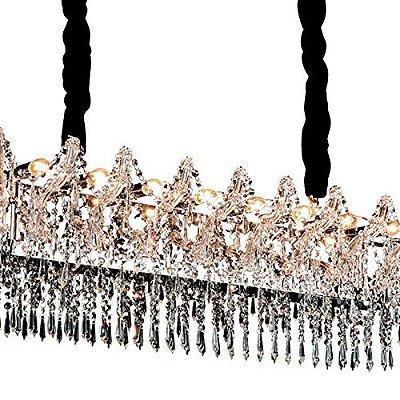 PENDENTE Newline Imports PD972-CR Lustre Cristal K9 Capa Corrente  Alumínio VIDRO CROMADO 10XE14 40W 48X91X35CM Sala de Jantar Quarto e Cozinha