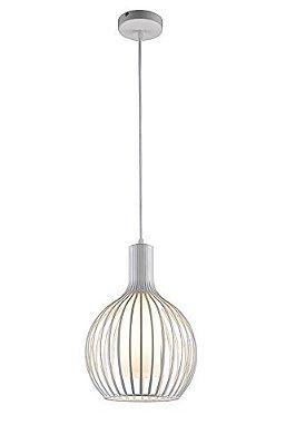 PENDENTE Quality Iluminação ID8153-BR Aramado Moderno Filamento Alumínio VIDRO BRANCO 1XE27 40W 30X40CM Sala de Jantar Quarto e Cozinha