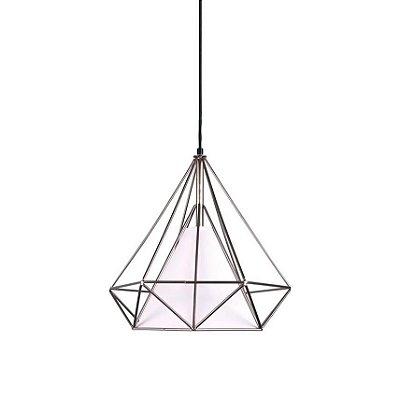 PENDENTE Quality Iluminação QPD1045 Aramado Triangular Diamante TECIDO 1XE27 40W 50X53CM Sala de Jantar Quarto e Cozinha