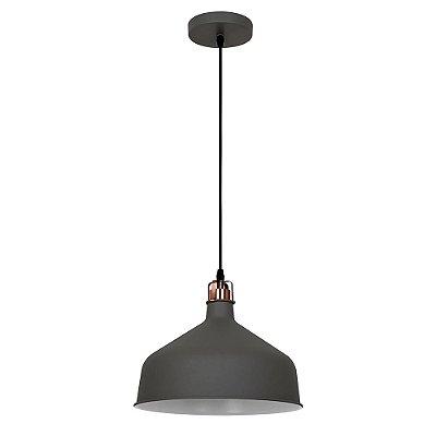 PENDENTE Quality Iluminação QPD1156-CZ Industrial Meia Esfera Estilo Antigo CINZA 1XE27 40W 30X25CM Sala de Jantar Quarto e Cozinha