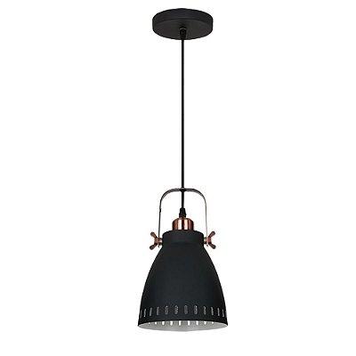 PENDENTE Quality Iluminação QPD1158-PT Industrial Estilo Antigo Sino PRETO 1XE27 40W 17X18CM Sala de Jantar Quarto e Cozinha