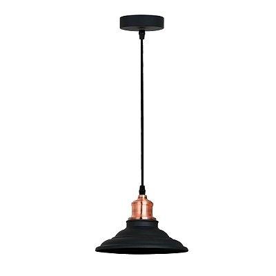 PENDENTE Quality Iluminação QPD1163-PT Industrial Estilo Antigo Chapéu Alumínio PRETO 1XE27 40W 20X16CM Sala de Jantar Quarto e Cozinha