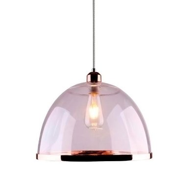 PENDENTE Quality Iluminação QPD1226-CO Meia Esfera Prismatica Filamento ACRILICO COBRE 1XE27 40W 23X15CM Sala de Jantar Quarto e Cozinha