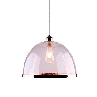 PENDENTE Quality Iluminação QPD1227-CO Meia Esfera Prismatica Filamento ACRILICO COBRE 1XE27 40W 34X25CM Sala de Jantar Quarto e Cozinha
