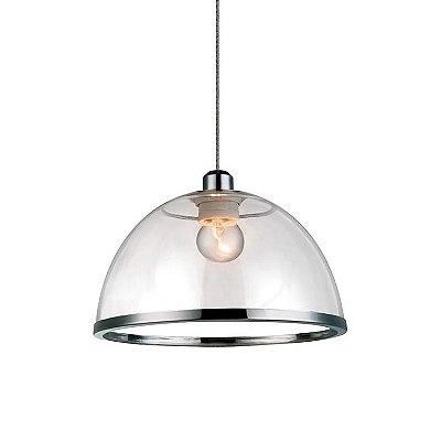 PENDENTE Quality Iluminação QPD1227-CR Meia Esfera Prismatica Filamento ACRILICO CROMADO 1XE27 40W 34X25CM Sala de Jantar Quarto e Cozinha