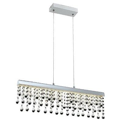 PENDENTE Quality Iluminação QPD1277-CR CRISTAL Lustre Retangular LED 12W 4000K CROMADO 61,5X10X17CM Sala de Jantar Quarto e Cozinha