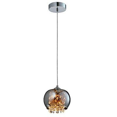 PENDENTE Quality Iluminação QPD1279-CR Redondo Esfera Esfera Cristal VIDRO CROMADO 1XG9 40W 13X15CM Sala de Jantar Quarto e Cozinha