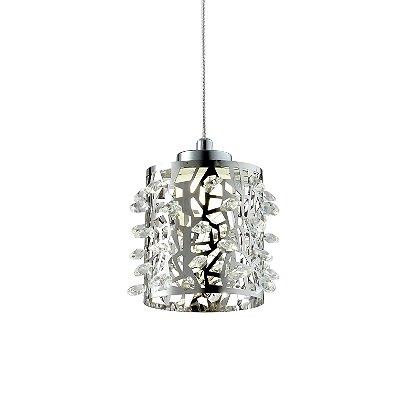 PENDENTE Quality Iluminação QPD1283 Vertical Cromado Cristais 1XG9 40W 12X12CM Sala de Jantar Quarto e Cozinha