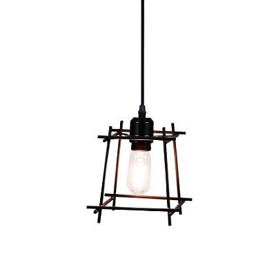 PENDENTE Quality Iluminação QPD1284-PT Aramado Estilo Antigo Filamento PRETO 1XE27 40W 17X17CM Sala de Jantar Quarto e Cozinha