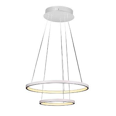PENDENTE Quality Iluminação QPD1301-BR Lustre Redondo Esfera Cristal Duplo LED 40W 3000K BRANCO 50/30X2CM Sala de Jantar Quarto e Cozinha