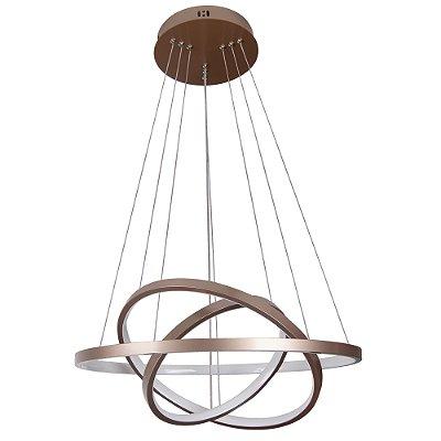 PENDENTE Quality Iluminação QPD1303-CO Lustre Redondo Esfera Cristal Triplo LED 89W 3000K COBRE 60*50*40X2CM Sala de Jantar Quarto e Cozinha