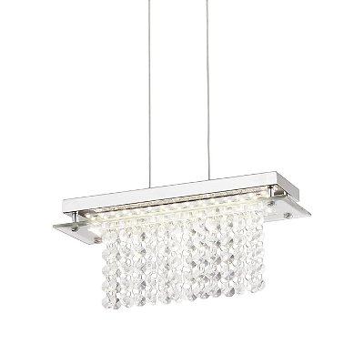PENDENTE Quality Iluminação QPD887 Retangular CRISTAL VIDRO LED 12W 4000K CROMADO 12X30X11,5CM Sala de Jantar Quarto e Cozinha
