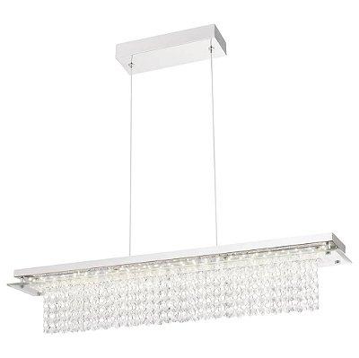 PENDENTE Quality Iluminação QPD889 Retangular CRISTAL VIDRO LED 21W 4000K CROMADO 12X70X11,5CM Sala de Jantar Quarto e Cozinha