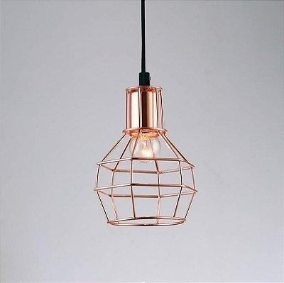 PENDENTE Quality Iluminação QPD919-CO Aramado Filamento Estilo Antigo COBRE 1XE27 40W Ø15X19,5CM Sala de Jantar Quarto e Cozinha