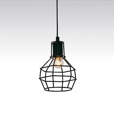PENDENTE Quality Iluminação QPD919-PT Aramado Filamento Estilo Antigo PRETO 1XE27 40W Ø15X19,5CM Sala de Jantar Quarto e Cozinha