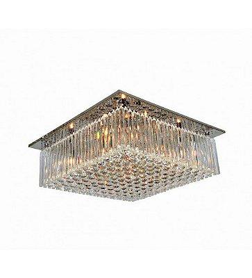 PLAFON Newline Imports ASTA 162-CR Quadrado Inox Cristal K9 Cristal K9 K9 8XG9 60X60CM Sala Quarto e Cozinha