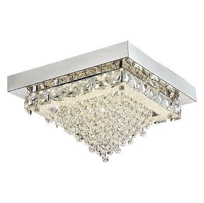 Plafon Quality Iluminação QPL881 Lustre Quadrado CRISTAL LED CROMADO 18W 4000K  30X30X20CM Sala Quarto e Cozinha