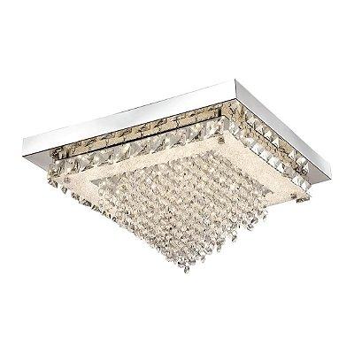 Plafon Quality QPL882 Lustre Quadrado CRISTAL LED CROMADO 24W 4000K  42X42X22,5CM