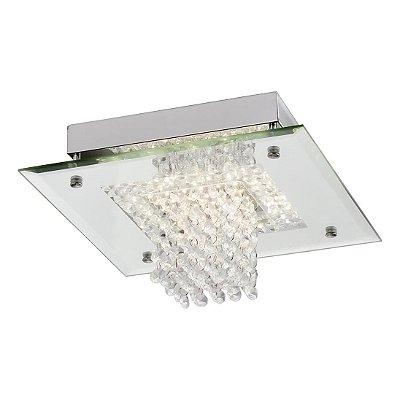 Plafon Quality Iluminação QPL883 Lustre Quadrado CRISTAL VIDRO LED 12W 4000K  CROMADO 26X26X14,5CM Sala Quarto e Cozinha