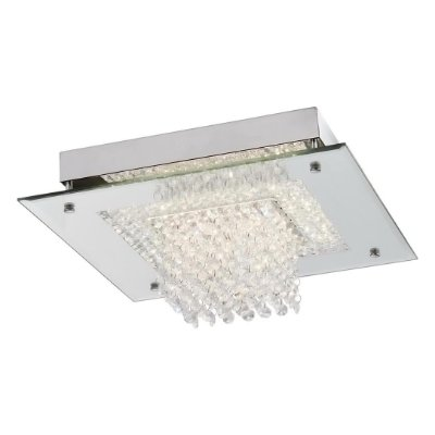 Plafon Quality Iluminação QPL884 Lustre Quadrado CRISTAL VIDRO CROMADO LED 18W 4000K  36X36X14,5CM Sala Quarto e Cozinha
