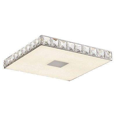 Plafon Quality Iluminação QPL886 Lustre Quadrado CRISTAL VIDRO LED 18W 4000K CROMADO 34X34X4,2CM Sala Quarto e Cozinha