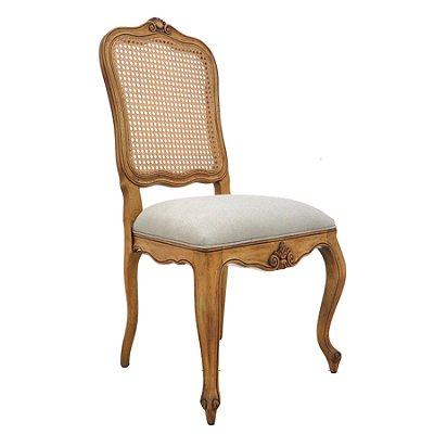 Poltrona Trendhouse Cadeira Trendhouse Luiz Vx Francês Madeira Natural Jequitibá Claro Assento Linho Estofado Encosto Palha LISBOA