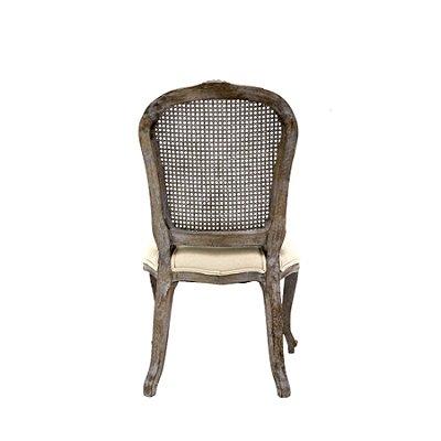 Poltrona Trendhouse e Cadeira Trendhouse Classica Madeira Natural Carvalho Escuro Escovado Assento Encosto Estofado Linho