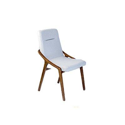 Poltrona Trendhouse e Cadeira Trendhouse Madeira Natural Carvalho Castanho Escuro Assento Linho Estofado Cinza Claro Link