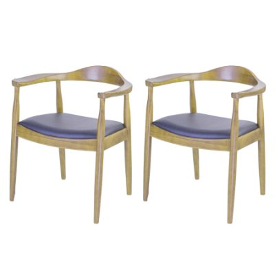 Poltrona Trendhouse Madeira Natural Carvalho Claro Americana Vintage The Chair Encosto Acento Couro Estofado FLAT