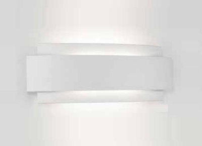 Arandela Newline Iluminação Courbe Curvo Sobrepor Metal Branco 36,3x12,2cm 2x PCI LED 6W 336LED1BT Parede Muro Banheiro Sala