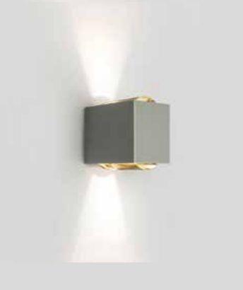 Arandela Newline Iluminação Lens LED Duplo Facho Metal Quadrado 10x15cm 2x PCI LED 6W SNT026LED1FF Parede Muro Banheiro Sala