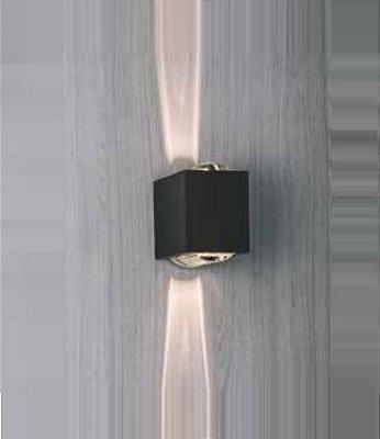 Arandela Newline Iluminação Lens LED Duplo Facho Metal Quadrado 9,2x13,3cm 2x PCI LED 6W SNT022LED1PT Parede Muro Banheiro Sala