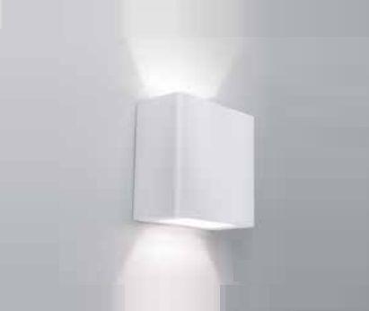Arandela Newline Iluminação New Trace Ambiente Externo Quadrada Sobrepor Metal 10x5cm 2x PCI LED 6W 9585LED1BT Parede Muro Banheiro Sala