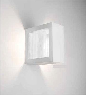 Arandela Newline Iluminação Portara Aberta Quadrada Metal Branco 10x5cm 1x PCI LED 6W Bivolt 110v 220v SN10146BTBT Parede Muro Banheiro Sala