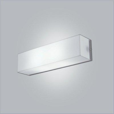 Arandela Usina Design Interna Retangular  acrílico leitoso Leitoso Branco 10x45 Polar E-27 10110/45 Escadas Quartos