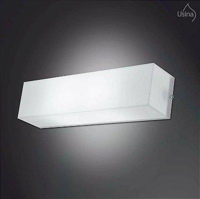 Arandela Usina Interna Retangular Branca Acrílico Leitoso Fosco 65x15 Polar  E-27 10115/65 Quartos e Salas