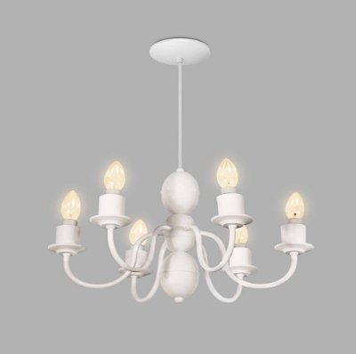 Lustre Candelabro Usina Design Retrô 6 Braços Metal Branco 32x53cm 6x E27 Bivolt 110v 220v16265-6 Hall Salas